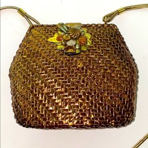 Rodo • Woven metal • Vintage • Gold Unique bag
